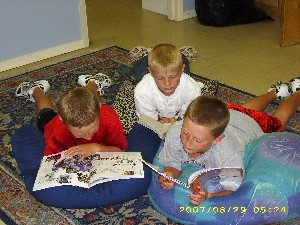 School children reading books